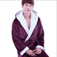 Winter Mens Kimono Robe Cotton Men's Bathrobe With Hood Coral Fleece Bath Robe Male Sleepwear Nightgown Loungewear Pajamas Robes