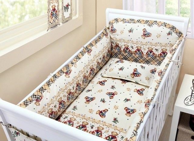 Promotion! 6PCS baby crib bumper bedding package baby 100% cotton bedding set ,include (bumpers+sheet+pillow cover)