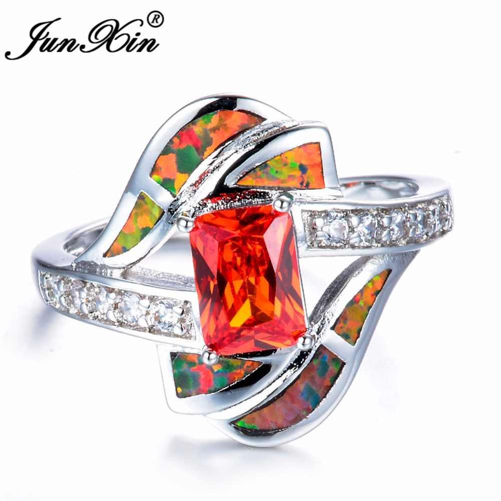 Thời trang Phụ Nữ Orange Cháy Opal Đá Vòng Vòng 925 Sterling Silver Bạc Đầy Đồ Trang Sức Độc Đáo Hình Học Phong Cách Cổ Điển Nhẫn Cưới