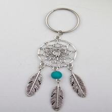 Antique Silver Dream Catcher Feather Tassel Keyring Multi Bead Charm Dreamcatcher Keychain Decorations Women Bag Jewelry Gifts