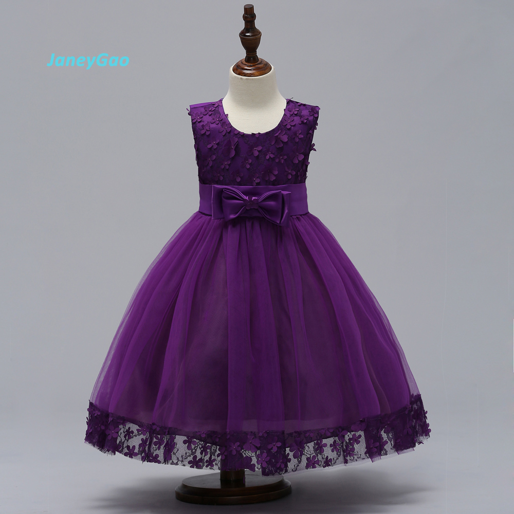 JaneyGao   Flower     Girl     Dresses   For Wedding Party 2018 Children   Dress   Princess   Dress     Girls   Formal Gown With Bow Purple New
