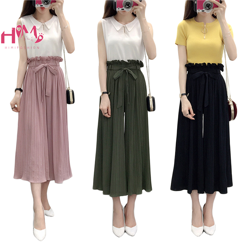 2019 High Waist Bandage Chiffon   Wide     Leg     Pants   For Women Nine Points Casual Pleated   Wide     Leg   Summer Vintage Boho Female Trousers