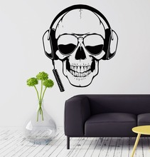 Personality Wall Decal Skull Headphones Gamer Sunglasses Boys Room Vinyl Stickers Home Decoration KW-210