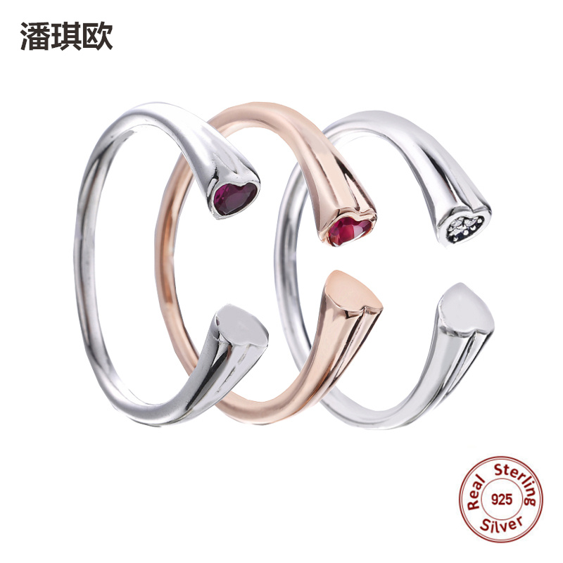 Valentines Day Series Authentic 925 Sterling Silver Heart-Shaped Ring Opening Fit Original panqiou Ring For Women Wedding Ring