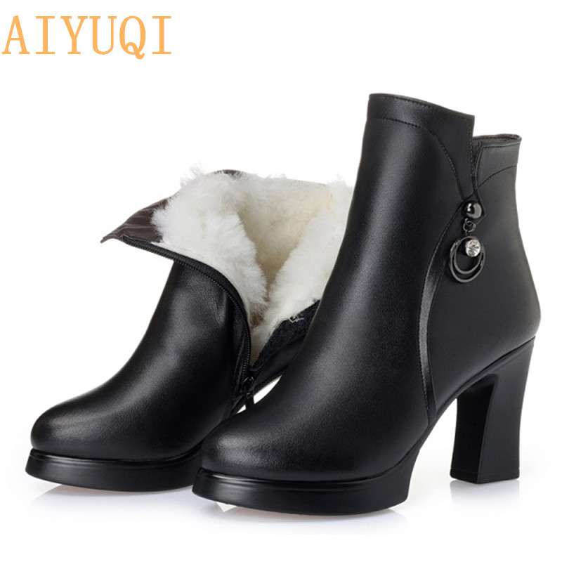 AIYUQI Genuine leather Boots Women Shoes Plus Size 12 Round Toe Square heel shoes Fashion ladies Casual ankle boots