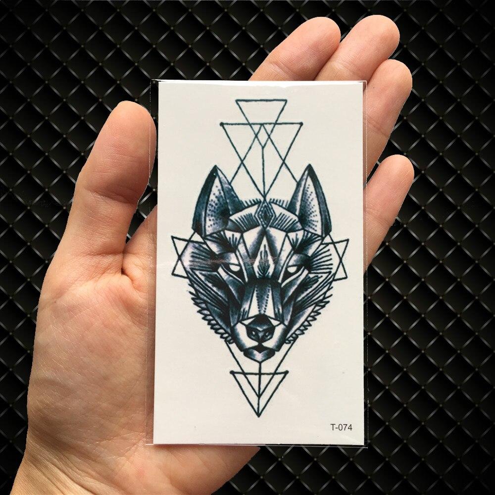 Geometría Gato Alce Lobo Tatuaje Temporal Mujeres Cuerpo Brazo
