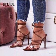 JINJOE Women shoes Gladiator Transparent PVC Lace Up High He