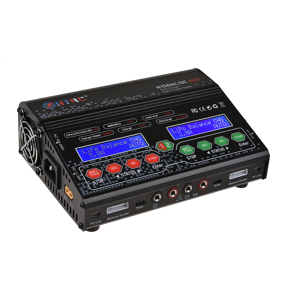 HTRC H150 DUO AC/DC 300W 12Ax2 Dual Output High Power RC Balance Charger Discharger for Lilon/LiPo/LiFe/LiHV/Nimh/Nicd Battery