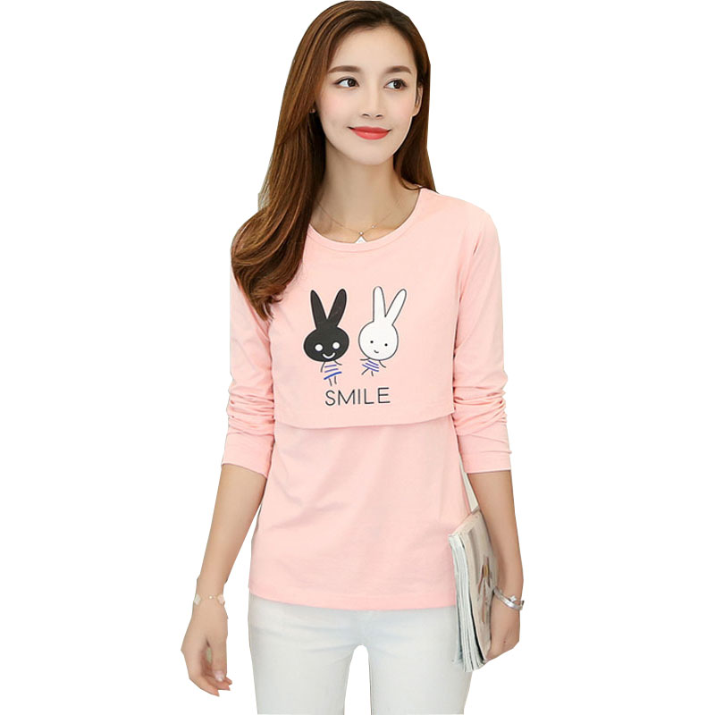 Smile Rabbit Pattern Funny Maternity T-shirts Pregnancy Wear Long Sleeve Nursing Clothes O-neck Breast feeding Top