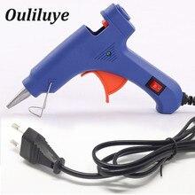 цена на Mini Electric Heating Hot Melt Glue Gun Use 7mm Glue Stick Handy High Temp Heater Heat Gun Blue EU Plug Temperature Repair Tool