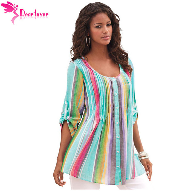e2cab44982b Dear Lover Womens Tops and Blouses Plus Size XXL Fall Rainbow Pleated  Stripe Button Front Tunic Shirts Blusas Femininas LC251220