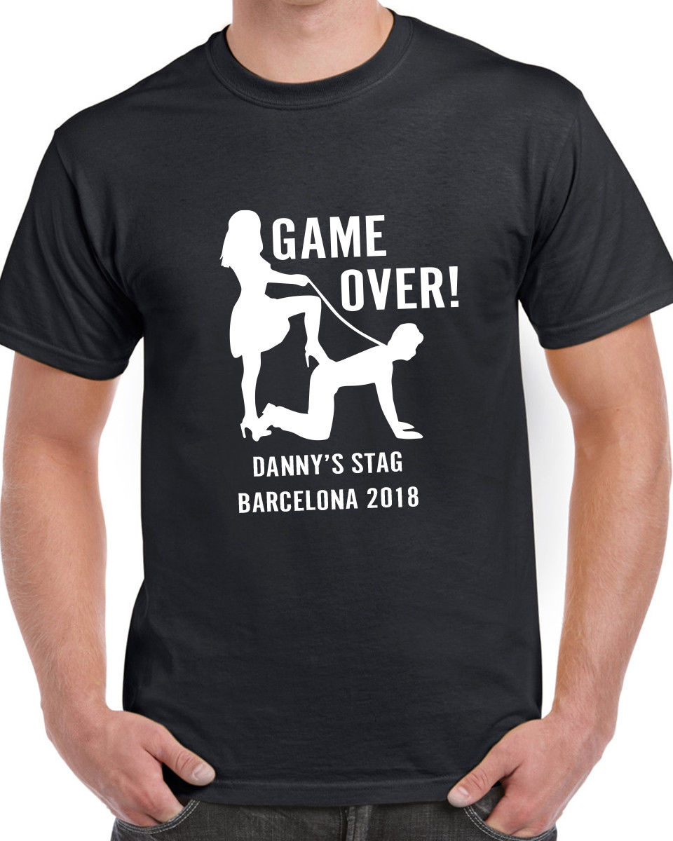 Game Over Stag T-shirt Funny Personalised Novelty Custom Printed Stag Do Party