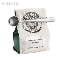 1 шт. Многофункциональный кофейный Совок из нержавеющей стали с зажимом мерный совок для кофе и чая 1 чашка молотая мерная ложка для кофе ложка