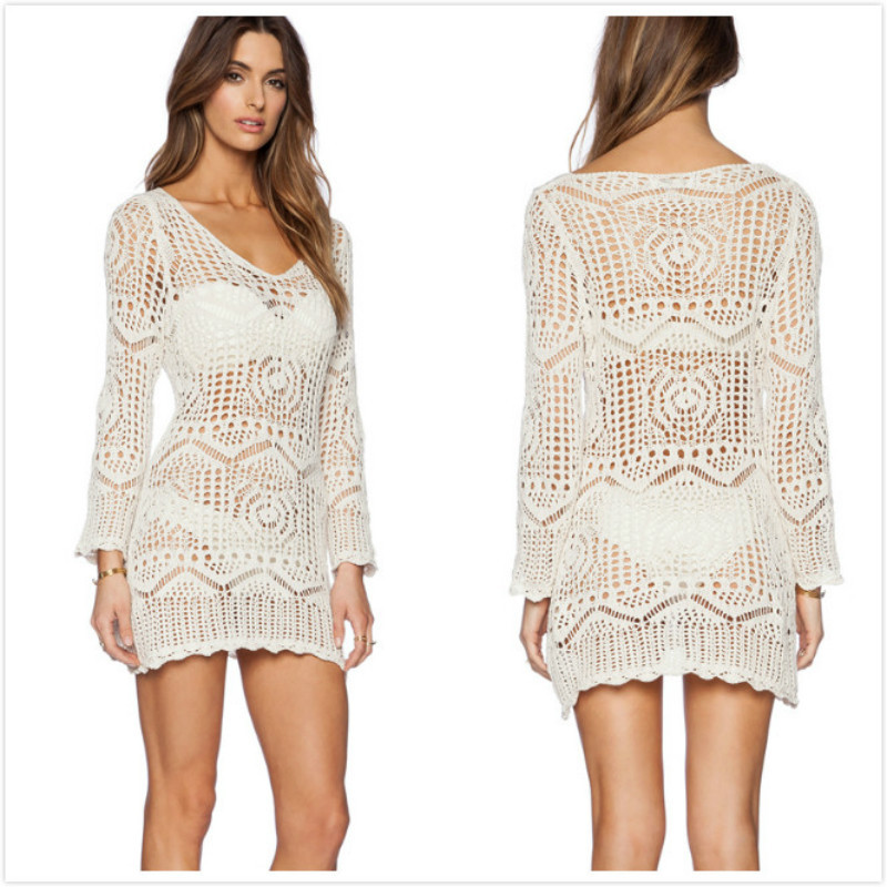 Bathing Suit Cover Ups Tunics For Beach Tunic Beachwear Dresses Swim Up New Knitted Long Sleeve