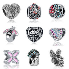 DIY bisuteria fit angel wings beads bijoux bracciale french bead silver perfumes mujer originales jewelry bracelet charms(China)