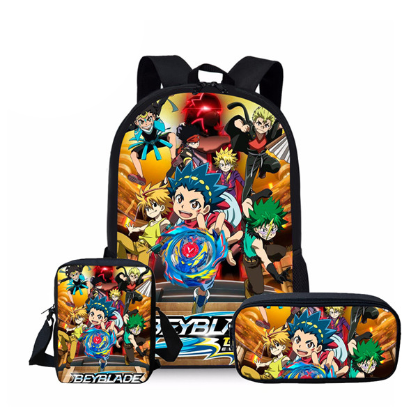 New Fashion Beyblade Burst Game 3Pcs Set Printed Man Large Backpack Orthopedic Schoolbags Beyblade Burst Game School Bag Gifts