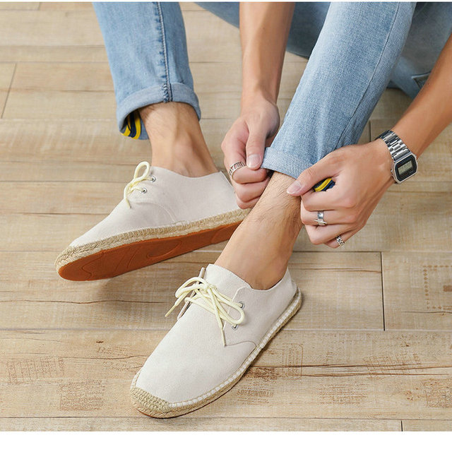 summer Black White Bule male casual Canvas Hemp Insole Fisherman Light Shoes Ethnic Style men Espadrille Flats Shoes II-08z