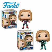 FUNKO POP! Official #427 Captain Marvel Carol Danvers Vinyl Doll Birthday Party Gift Action&Figure Toy Collection For Movie Fans