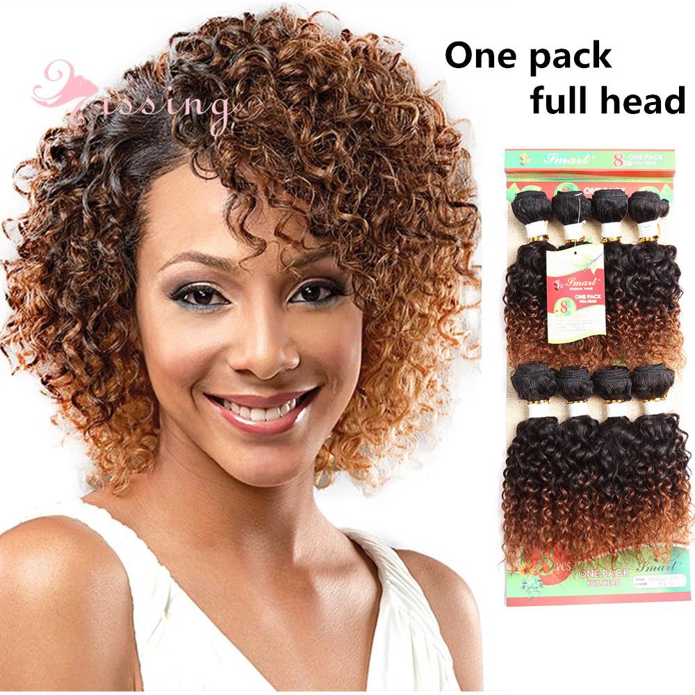 8'' afro kinky curly weaving wefts ombre burgundy blonde