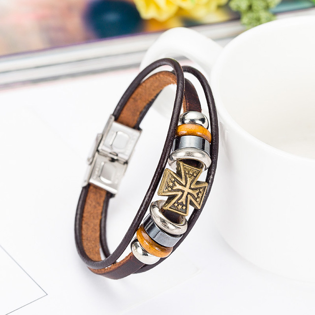 Christian Kreuz Vintage Armband Multilayer Legierung Perlen Leder Armband Christian Geschenk