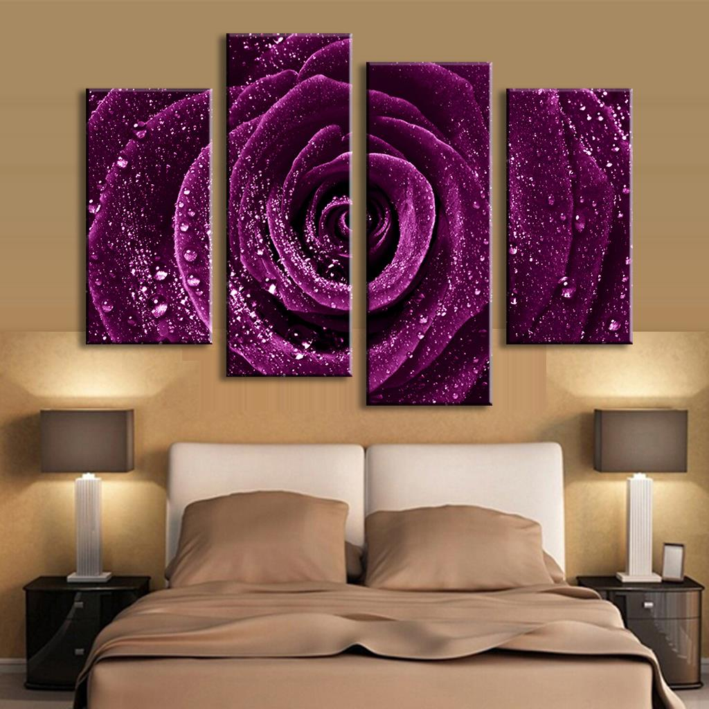 4 pcs set combined flower paintings purple rose modern wall painting