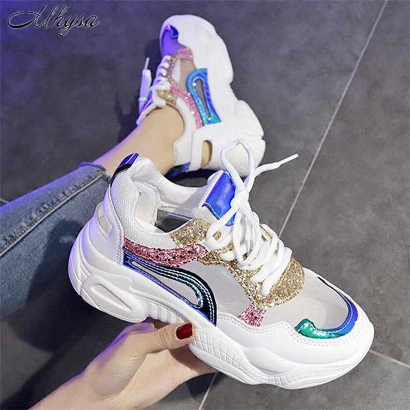 Mhysa 2019 yeni kadın ayakkabı bahar Sneakers kadın moda Bling platform ayakkabılar kadın ayakkabıları nefes örgü Sneakers T895