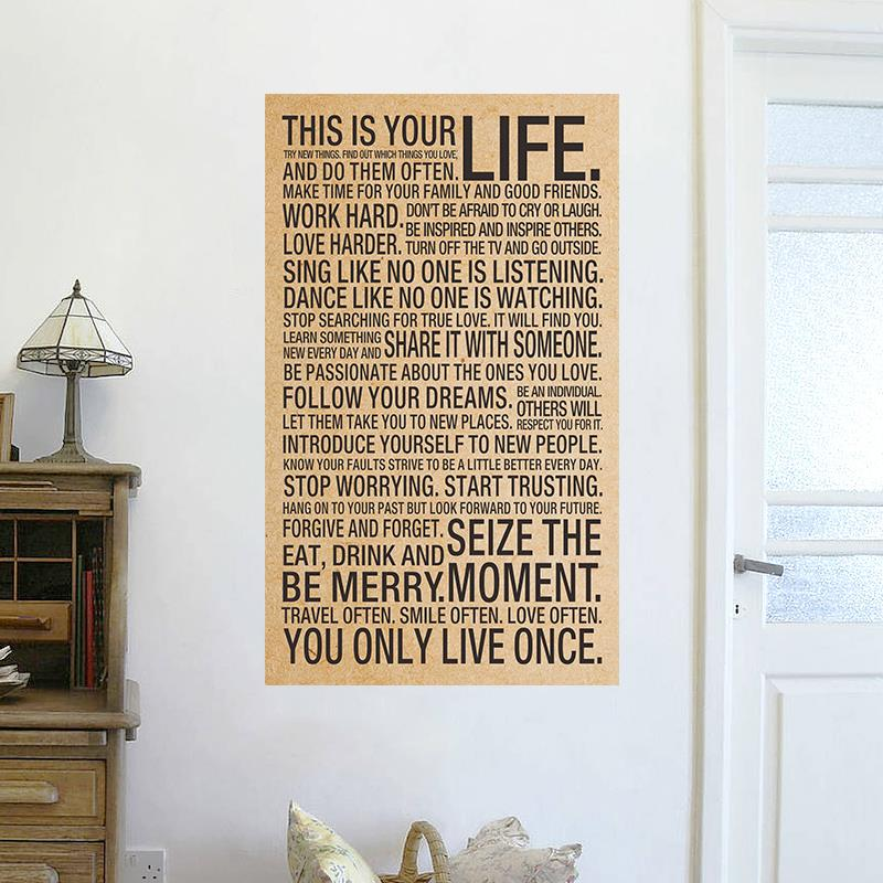 This your Life inspirational words kraft paper posters wall stickers room decor 0234. home decal retro quotes mural art 5.0