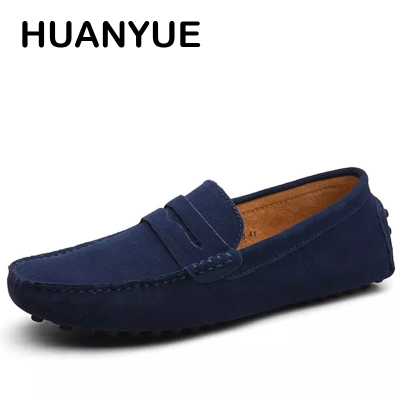 Genuine Leather Men Shoes Suede Leather Men Loafers Soft Plus Size Autumn Mens Shoes Casual Shoes 10 Colors Size 38 45 Moccasins