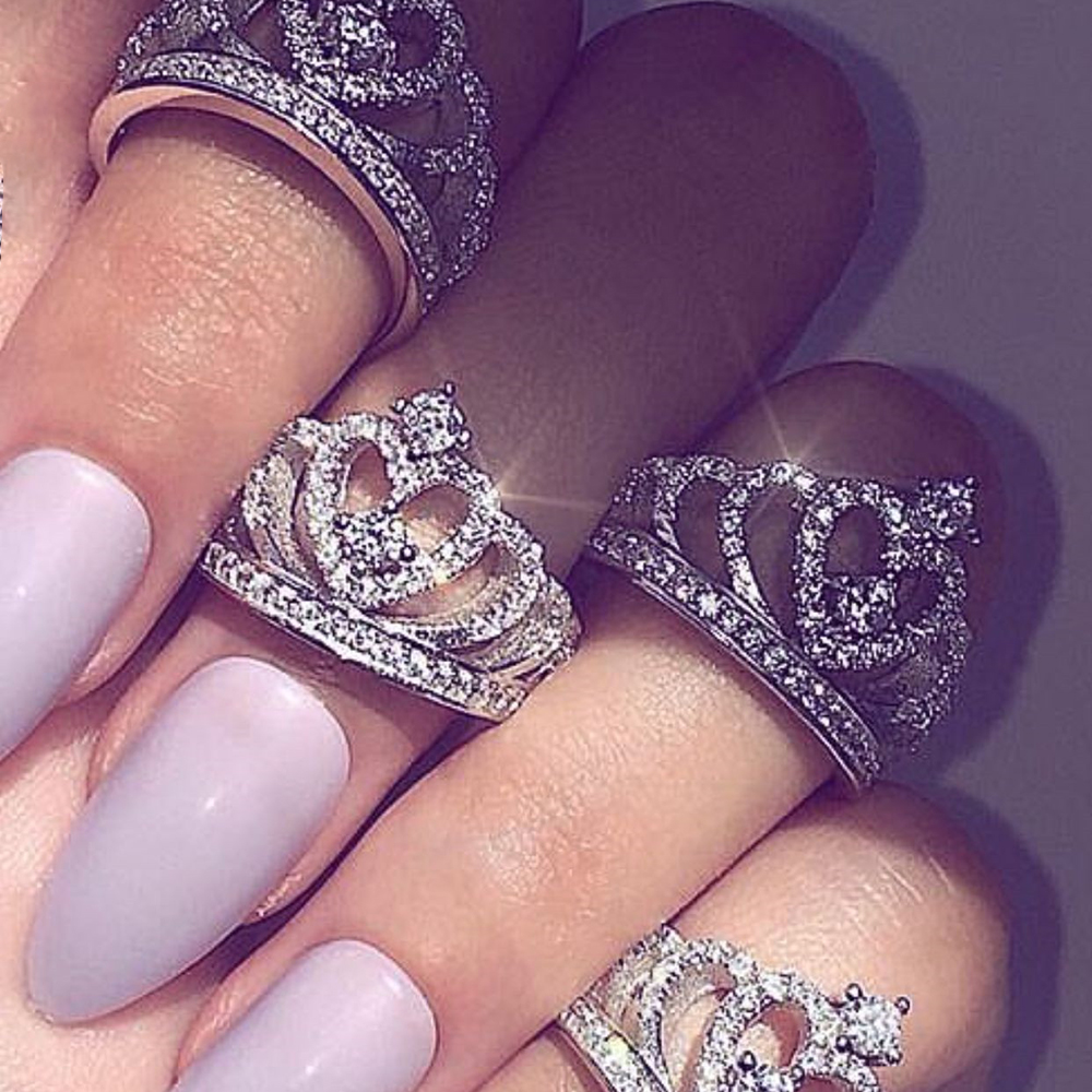Fashion Silver Rings Crystal Heart Rings Women's Crown Zircon Ring Jewelry Women's Engagement Party Wholesale 3