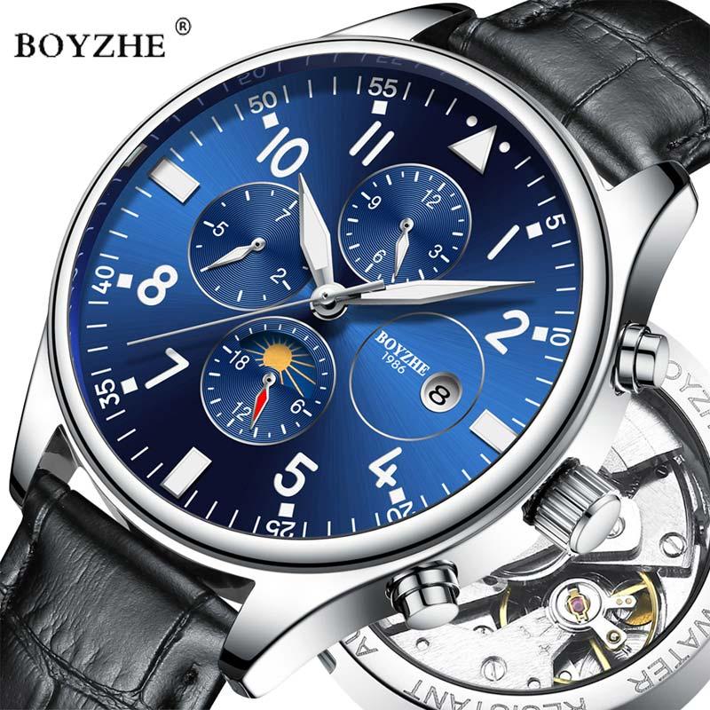 BOYZHE Watches Mechanical-Watch Moon-Phase Sports Luminous Automatic Luxury Brand Relogio