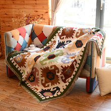 Blanket for Single Seat Sofa 130x160cm Simple Modern Cotton Knitted Fabric Anti Skid Cloth Geometric Pattern Sofa Cover Blanket