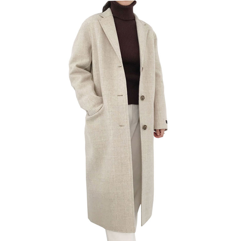 Plaid Woolen Coat Women Winter Wool Blend Overcoat 2018 New Ladies Harajuku Lapel Long J ...