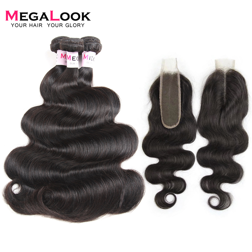 Megalook Brazilian Kim K Closure With Body Wave Hair Bundles 100% Remy Human Hair Bundles With Closure 2X6 Middle Part