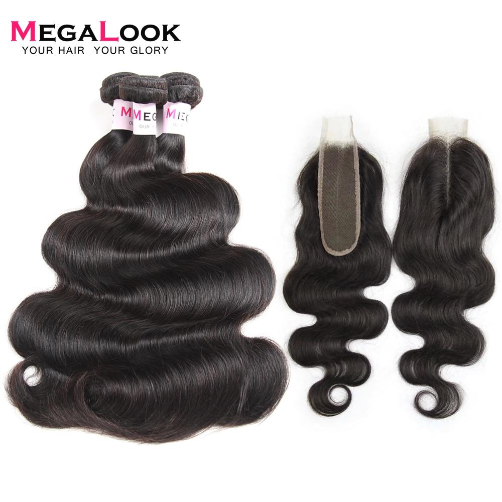 Megalook Brazilian Kim K Closure With Body Wave Hair Bundles 100% Remy Human Hair Bundles With Closure 2X6 Middle Part