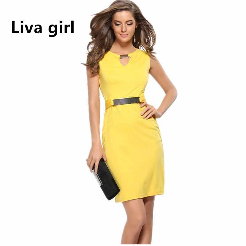 7c5cee89521 3XL плюс размер женщин желтое бандажное платье для офиса сарафан женский  летний платья больших размеров платье
