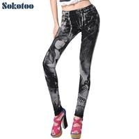 Sokotoo ג 'ינס ההדפסה של נשים ריינסטון סקסי יופי דפוס צבוע ג' ינס מכנסיים ארוכים slim צבעוני סקיני עיפרון מכנסיים
