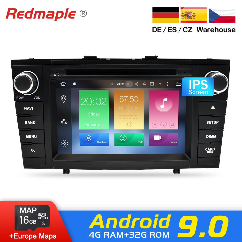 Núcleo octa Android 9.0 Car Radio DVD GPS Navigation Multimedia Player Para Toyota Avensis T27 2009-2015 Auto Áudio stereo Unidade Central