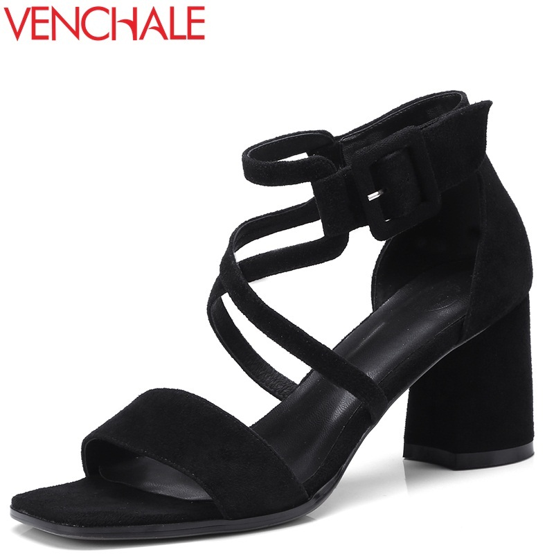VENCHALE 2018 summer new square toe fashion concise casual women sandals heel height 6.5 cm cross-tied square cover heel shoes new women sandals low heel wedges summer casual single shoes woman sandal fashion soft sandals free shipping