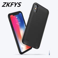ZKFYS 5000mAh Portable Magnetic Ring Battery Charger Case Power Bank Charging Cover For iPhone X Ultra Thin Fast