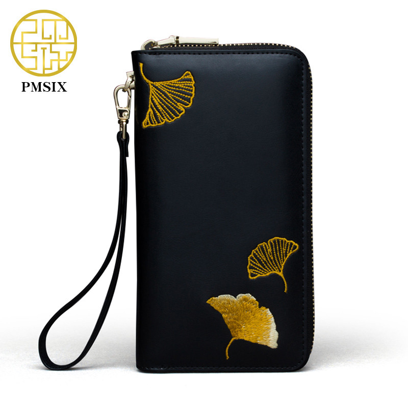 Pmsix 2018 Embroidery Leather Wallet Cattle Split Leather Woman Purses Designer Vintage Style Coin Clutch Bag Card Holder pmsix 2017 new women cattle split leather handbags chinese style shoulder bag red black embroidery fashion tote bag p120024