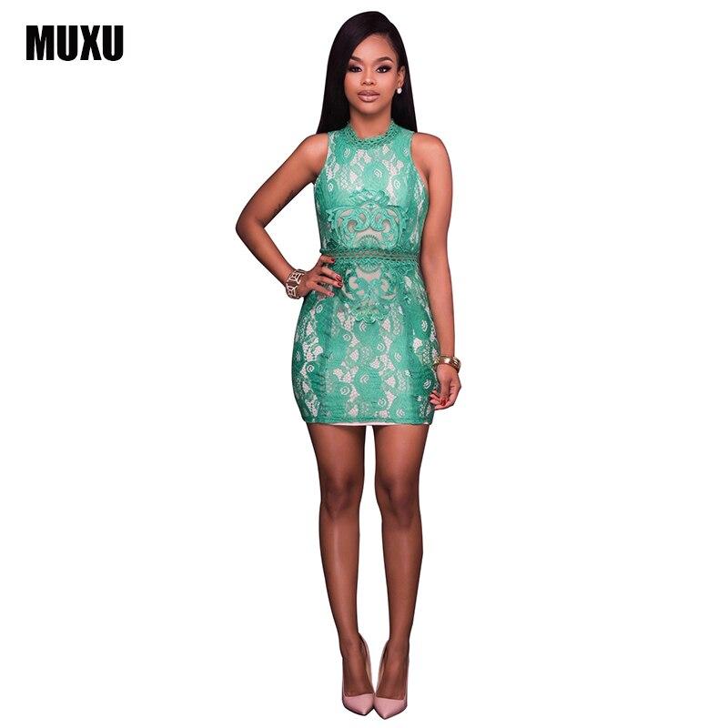 Muxu Summer Sexy Flower Lace Dress Yellow Green Sleeveless Crochet