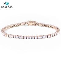 DovEggs Solid 14K 585 White Gold Yellow Gold 3.5CTW GH Color 2.5mm Moissanite Tennis Bracelet For Women 17CM Length