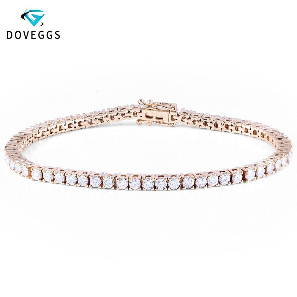 DovEggs solide 14 K 585 or blanc jaune or 3.5CTW GH couleur 2.5mm Moissanite Tennis Bracelet pour femmes 17 CM longueur