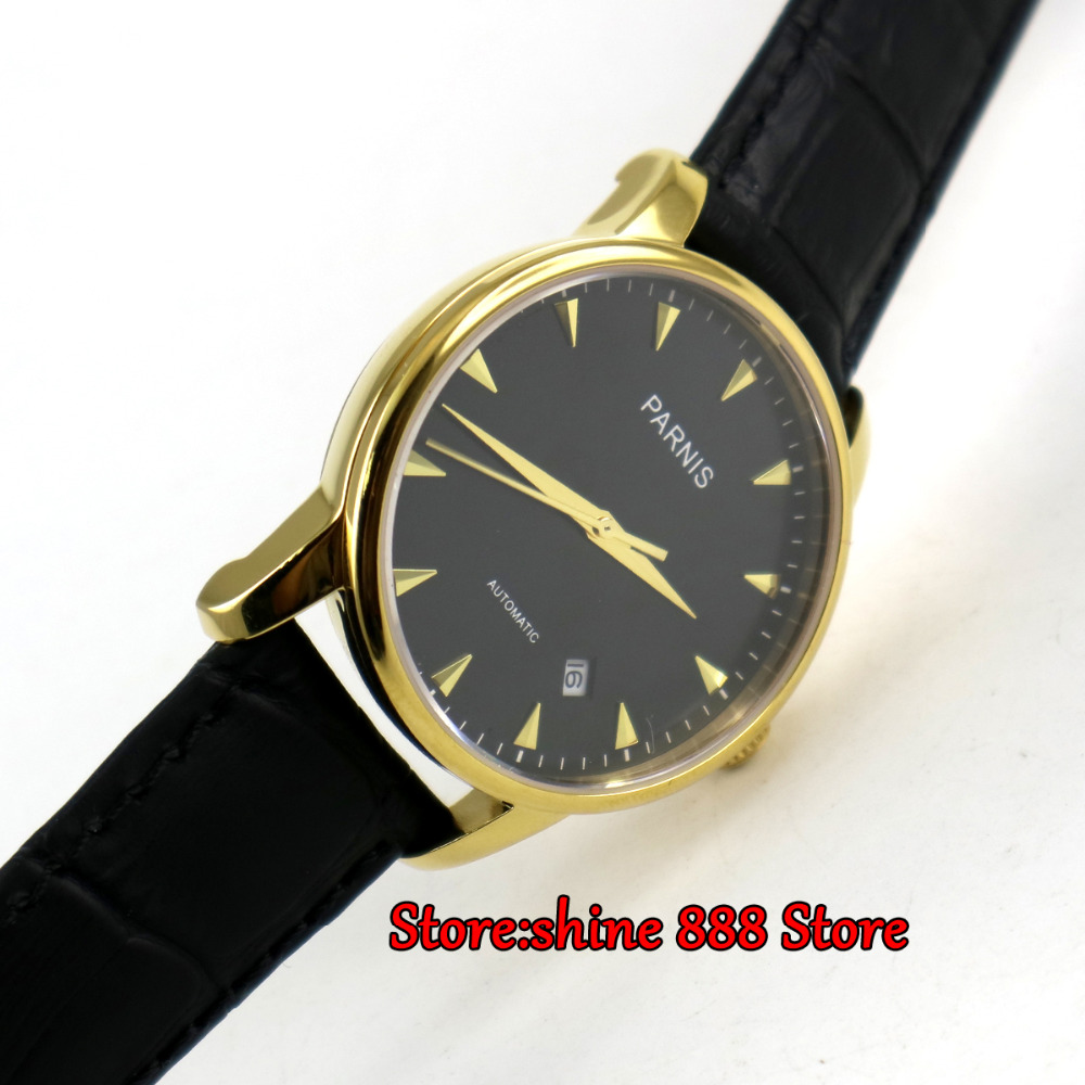 38mm parnis black dial golden plated case miyota automatic mens wrist watch P6 image
