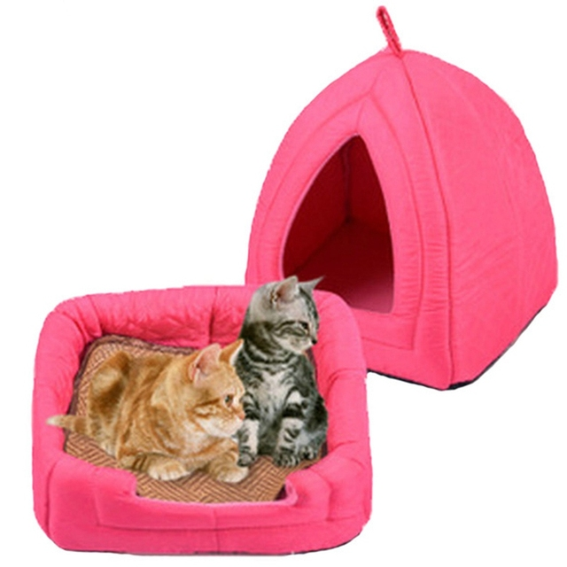 Foldable Dog Beds for Small Dogs Soft Winter Warmer Dog House Pet Bed Cute Playpen Nest Cat Sleeping Bed Mattress