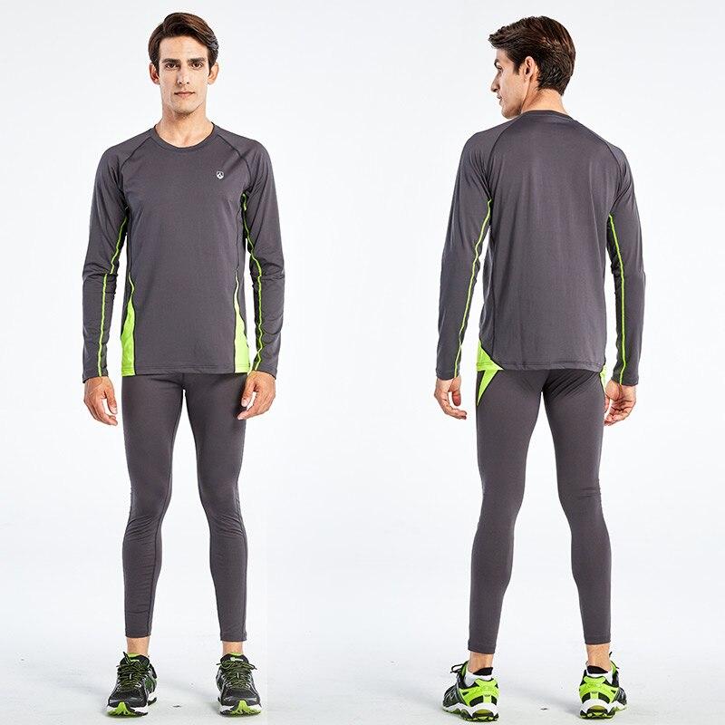 2PCS Training & Exercise T Shirt Men Long / Short Sleeve Fitness Set Gym Running Tights / Leggings Plus Size - 2
