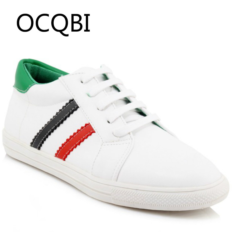 2019 Womens Spring New Style Casual Lace UP Comfortable Soft White Flat Shoes Size 33 Plus Big 44 45 46