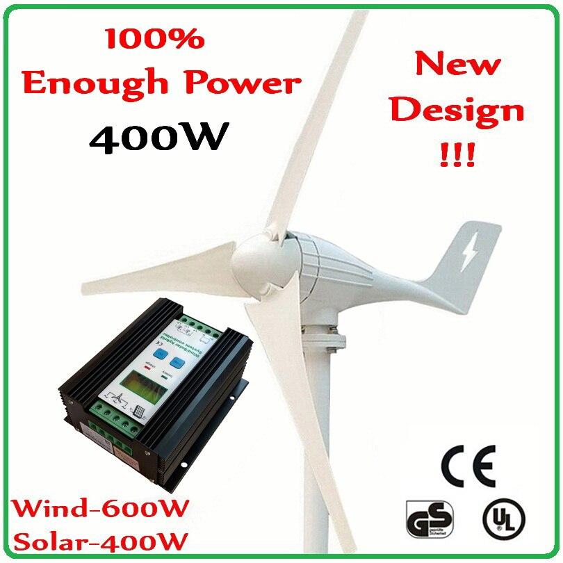 400W Wind Turbine Generator max 600w wind generator & 1000W Hybrid Charge Controller for 600W wind turbine 400W solar panels цена