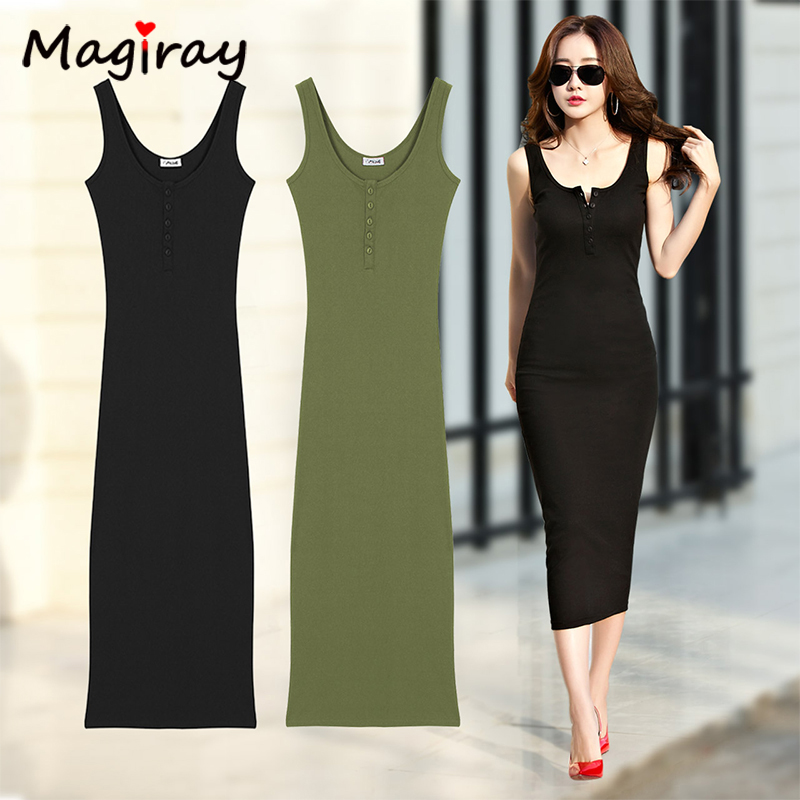 Magriay Knitted Cotton <font><b>Long</b></font> <font><b>Dress</b></font> <font><b>Women</b></font> 2020 Summer Sleeveless Tank Button <font><b>Sexy</b></font> <font><b>Bodycon</b></font> Party Casual <font><b>Dress</b></font> <font><b>Black</b></font> Elegant C389 image