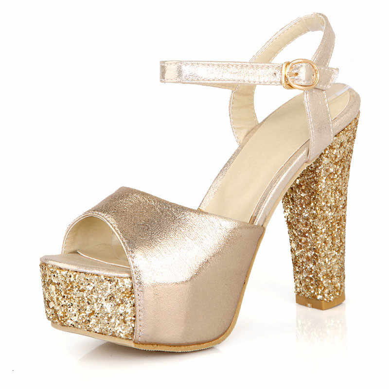 YMECHIC 2019 Mode Super Hoge Hakken Platform Sandalen Vrouwen Bling Glitter Goud Zilver Rood Party Bruid Bruiloft Schoenen Plus Size